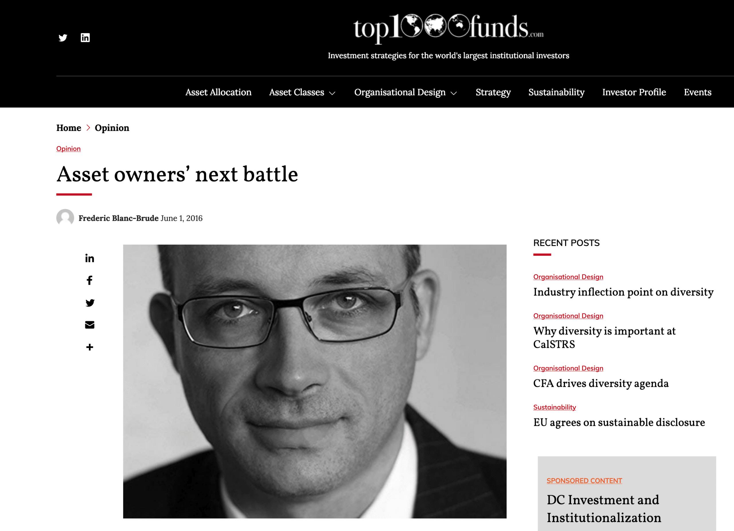 Asset owners' next battle