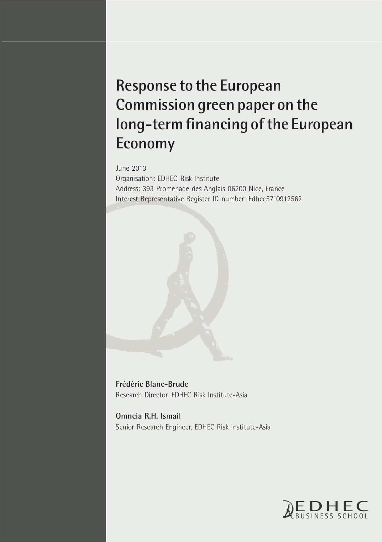 Response to the European Commission green paper on the long-term financing of the European economy