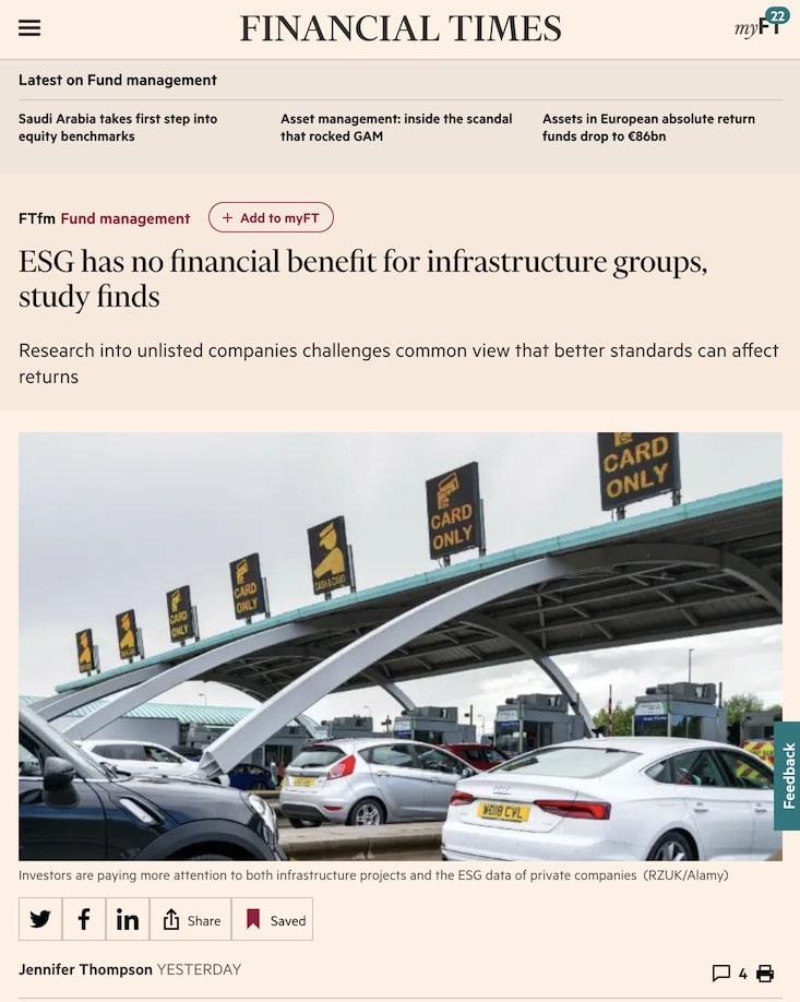 FT: ESG has no financial benefit for infrastructure groups, study finds