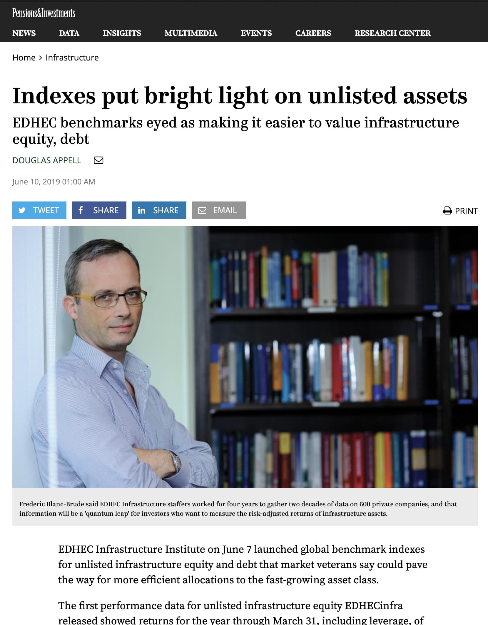 Pensions & Investments: Indexes put bright light on unlisted assets
