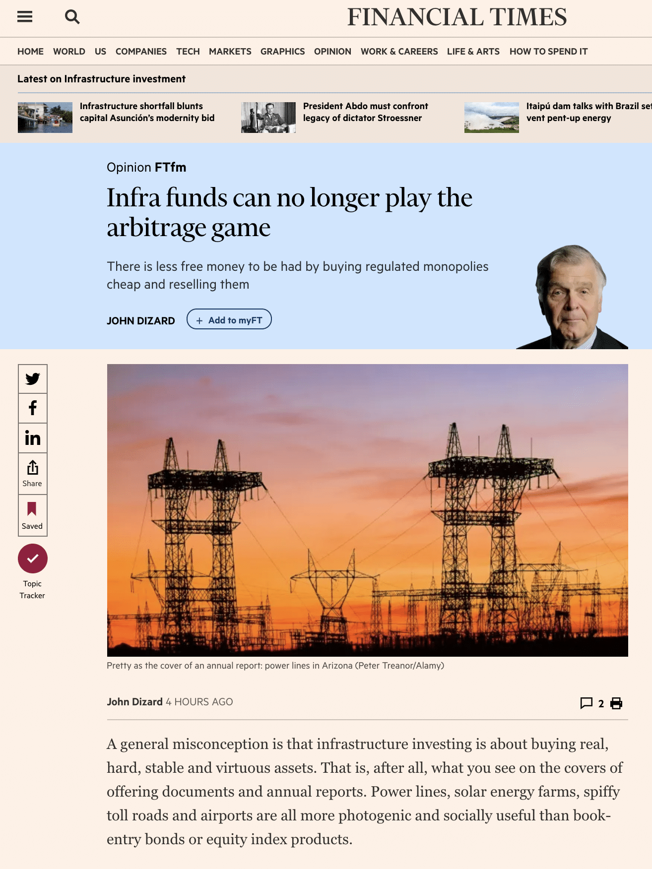 FTfm: Infra funds can no longer play the arbitrage game